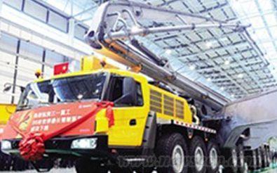 三一86米臂架混凝土泵车高清图片