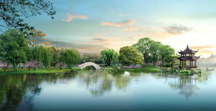 古典园林景观设计效果图